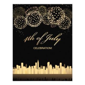 4o preto e amarelo elegante do piquenique de julho convite personalizados