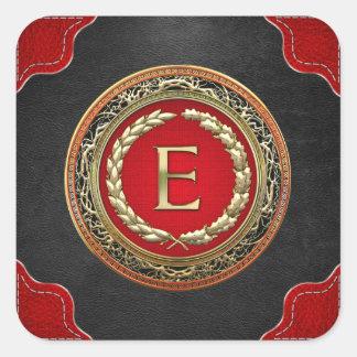 """[500] monograma do vintage do ouro de """"E"""" Adesivo Quadrado"""