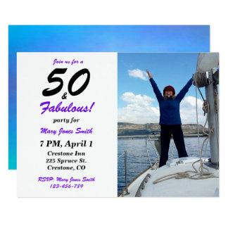50 & 50th convite fabuloso da foto do aniversário