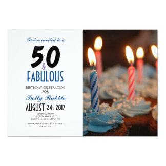 50 & 50th convite fabuloso do aniversário com foto