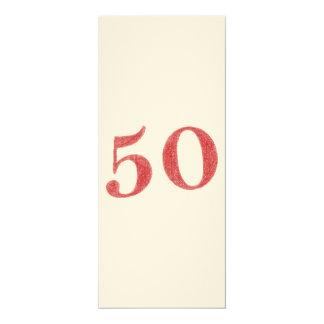 """50 anos de aniversário convite 10.16"""" x 23.49cm"""