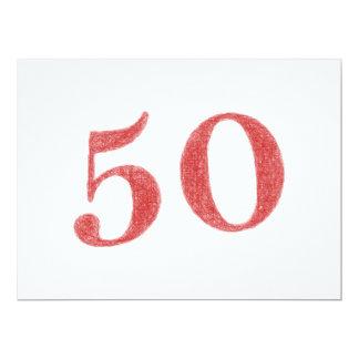 """50 anos de aniversário convite 16.51"""" x 22.22cm"""
