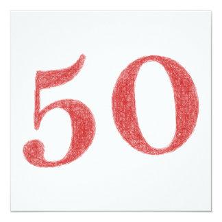 50 anos de aniversário convite quadrado 13.35 x 13.35cm
