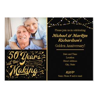 50 anos no fazer - aniversário dourado convite 12.7 x 17.78cm