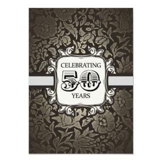 50 de casamento do aniversário anos de vintage do convite 12.7 x 17.78cm