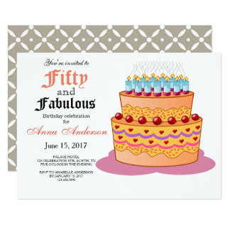 50 e 50th convite fabuloso do aniversário