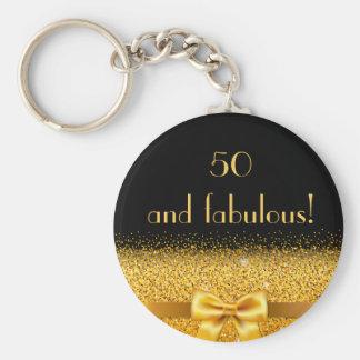 50 e arco dourado chique fabuloso com preto da chaveiro