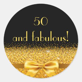 50 e arco dourado fabuloso com faísca no preto adesivo