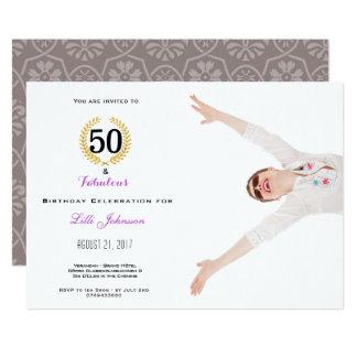 50 e cartão fabuloso do convite de aniversário