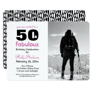50 e convite de festas fabuloso com foto de B&W