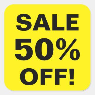 50 por cento fora das etiquetas do preço de venda adesivo quadrado
