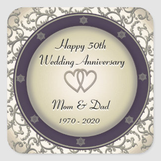 50th Aniversário de casamento Adesivo Quadrado