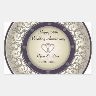 50th Aniversário de casamento Adesivo Retangular