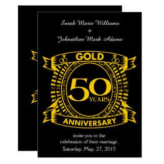 50th Aniversário de casamento do ouro Convite 12.7 X 17.78cm