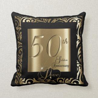 50th Aniversário de casamento dourado Almofada