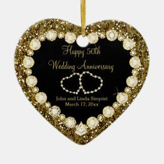 50th Aniversário de casamento dourado do brilho Ornamento De Cerâmica Coração
