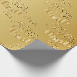 50th aniversário de casamento dourado elegante papel de presente