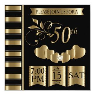 50th aniversário de casamento dourado feliz convite quadrado 13.35 x 13.35cm
