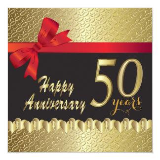 50th aniversário dourado feliz convite quadrado 13.35 x 13.35cm