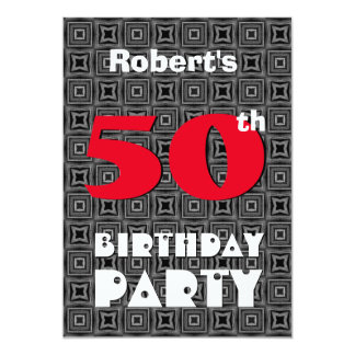 50th Aniversário para ele teste padrão branco Convite 12.7 X 17.78cm
