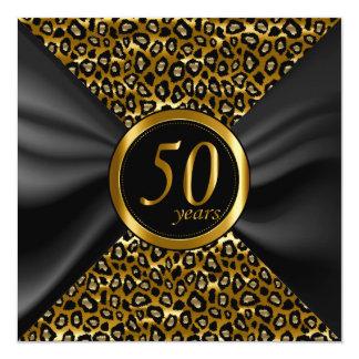 50th Anos dourados com cetim preto Convite Quadrado 13.35 X 13.35cm