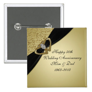 50th Botão do aniversário de casamento Bóton Quadrado 5.08cm