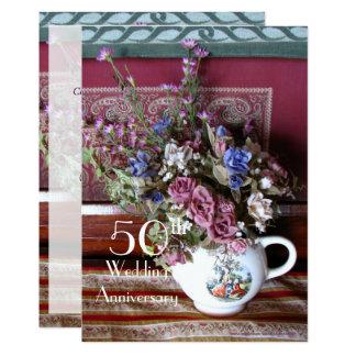 50th Bule do vintage do convite do aniversário de
