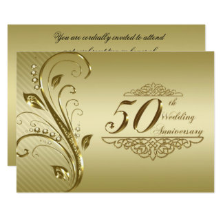 50th Cartão do convite do aniversário de casamento