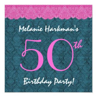 50th Cerceta do aniversário e laço cor-de-rosa Convite Quadrado 13.35 X 13.35cm