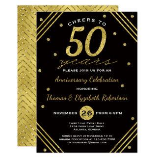 50th Convite da festa de aniversário, ouro do