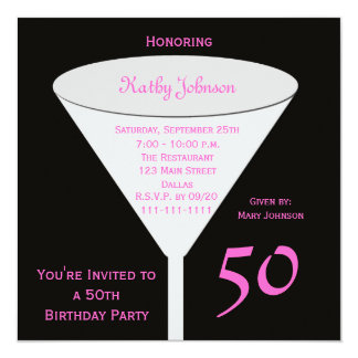50th Convite de aniversário 50 no rosa