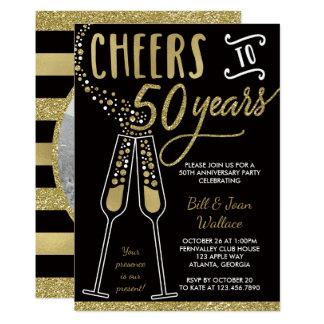 50th Convite do aniversário, brilho do falso/folha