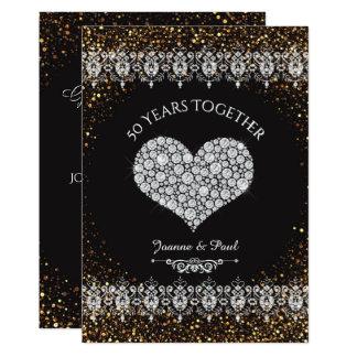 50th Coração do diamante da celebração do Convite 12.7 X 17.78cm