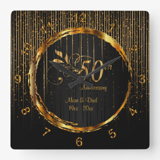 50th design dourado moderno do aniversário da relógio quadrado