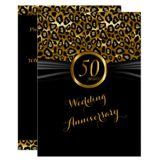 50th Design exótico do leopardo do aniversário Convite 12.7 X 17.78cm