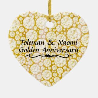 50th Diamantes do aniversário de casamento   Ornamento De Cerâmica