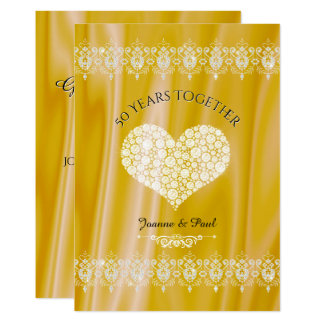50th Diamantes do ouro da celebração do Convite 12.7 X 17.78cm