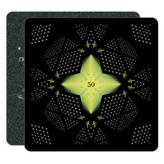 50th Estrela amarela do aniversário Convite Quadrado 13.35 X 13.35cm