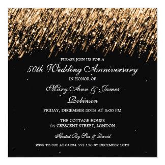 50th estrelas elegantes do ouro do aniversário de convite quadrado 13.35 x 13.35cm