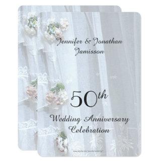 50th Festa de aniversário do casamento, laço do Convite 12.7 X 17.78cm