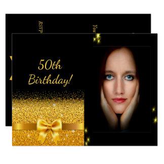 50th foto elegante do ouro do preto do convite do