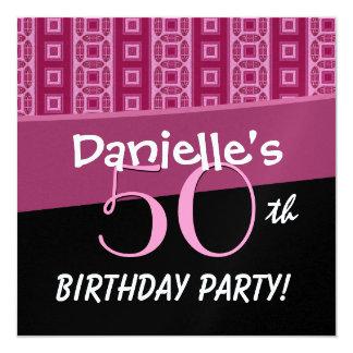 50th O aniversário para seu rosa listra P351 Convite Quadrado 13.35 X 13.35cm