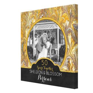 50th Ouro da foto do aniversário de casamento 50 Impressão Em Tela