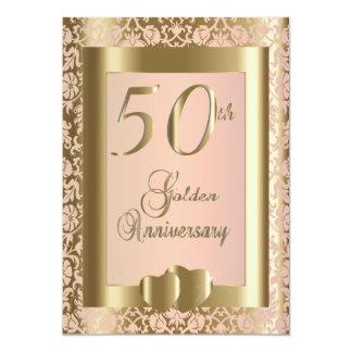 50th Ouro e texto cor-de-rosa do aniversário de Convite 12.7 X 17.78cm