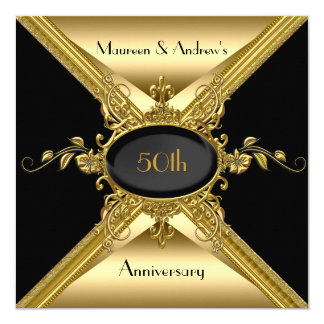 50th Ouro elegante do ouro do aniversário de Convite Quadrado 13.35 X 13.35cm