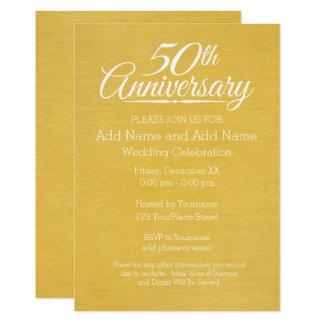 50th Ouro personalizado do aniversário de Convite 12.7 X 17.78cm
