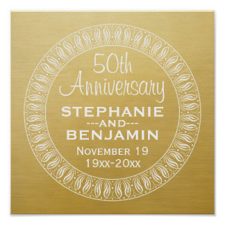 50th Ouro personalizado do aniversário de Pôster