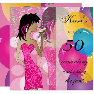 50th Partido da menina da festança do aniversário Convite Quadrado 13.35 X 13.35cm