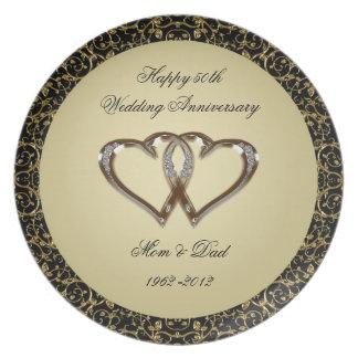 50th Placa da melamina do aniversário de casamento Pratos De Festas