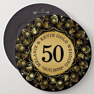 50th Preto do aniversário de casamento & ouro, Bóton Redondo 15.24cm